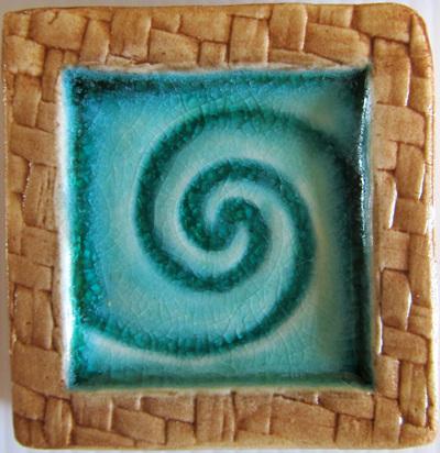 Blue Koru Memory Tile