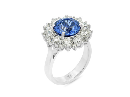 Blue Lotus: Blue Sapphire and Diamond Cluster Ring