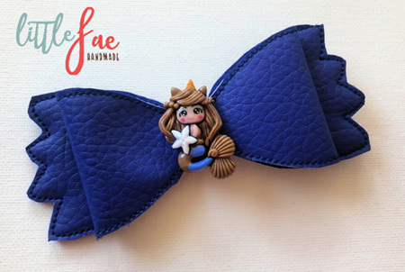 Blue Mermaid Hair Bow Clip
