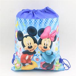 Blue Mickey & Minnie Drawstring Bag