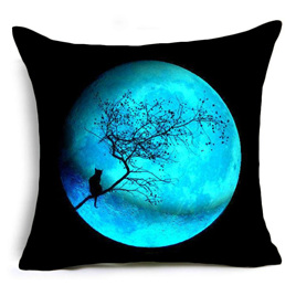 Blue Moon with Cat Cushion Cover