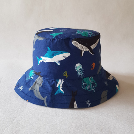 Blue Ocean Life Bucket Hat - child size large
