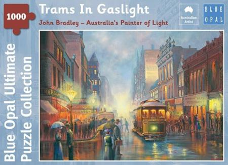 Blue Opal 1000 Piece Jigsaw Puzzle: Bradley - Trams In Gaslight