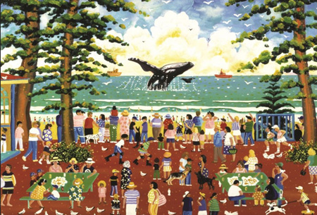 Blue Opal 1000 Piece Jigsaw Puzzle: Narelle Wildman - Watching The Whales