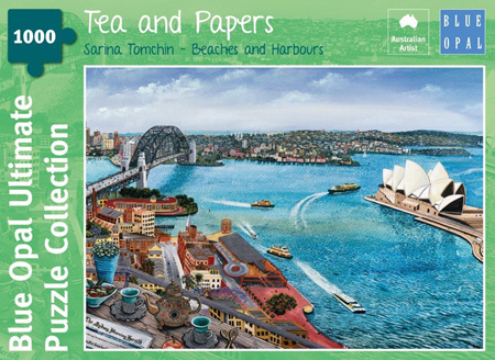 Blue Opal 1000 Piece Jigsaw Puzzle: Sarina Tomchin - Tea & Papers