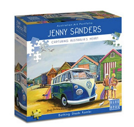 Blue Opal 1000 Piece Jigsaw Puzzle Artist Jenny Sanders: Bathing Shed Kombi