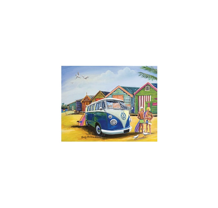 Blue Opal 1000 piece puzzle Bathing Sheds Kombi buy at www.puzzlesnz.co.nz