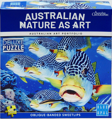 Blue Opal 1000 Piece Jigsaw Puzzle:  Oblique Banded Sweet Lips