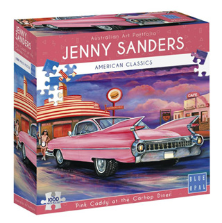 Blue Opal 1000 Piece Jigsaw Puzzle: Sanders - Pink Caddy At The Car Hop Diner