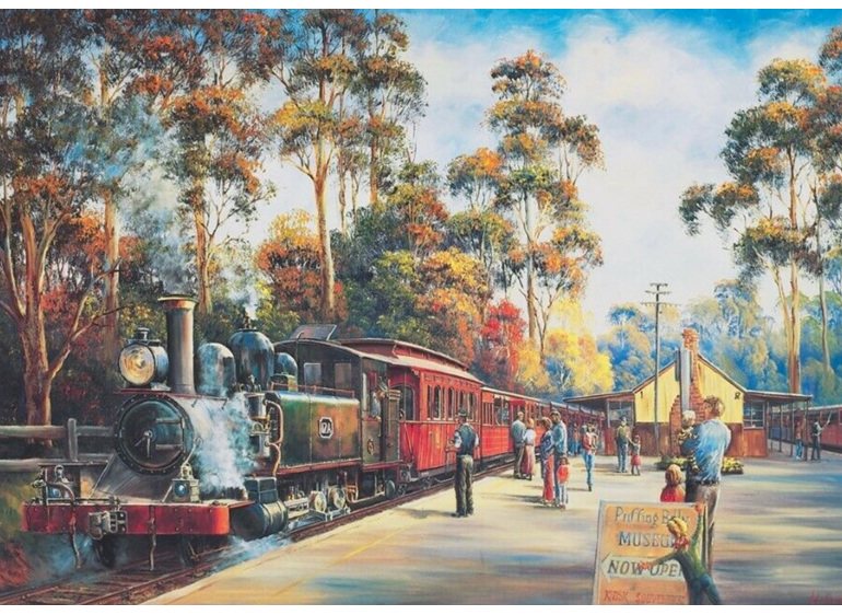 Blue Opal 1000 Piece  Puzzle  Puffing Billy Arrival buy at www.puzzlesnz.co.nz