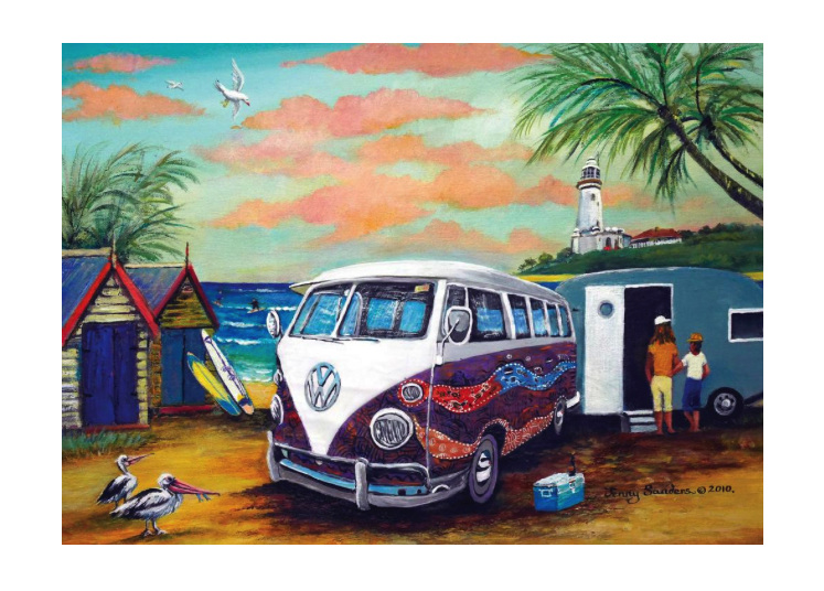 Blue Opal 1000 piece puzzle Sanders Dreamtime Kombi buy at www.puzzlesnz.co.nz