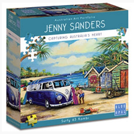 Blue Opal 1000 Piece Jigsaw Puzzle Artist Jenny Sanders: Surfy 63 Kombi