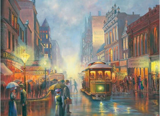 Blue Opal 1000 Piece  Puzzle  Trams in Gaslight  buy at www.puzzlesnz.co.nz