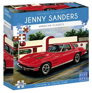Blue Opal 1000 Piece Jigsaw Puzzle: Sanders -  Corvette At Cactus Cafe