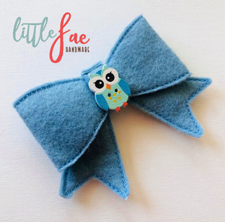 Blue Owl Bow Hairclip
