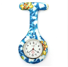 Blue Patterned Silicone Nurses Watch