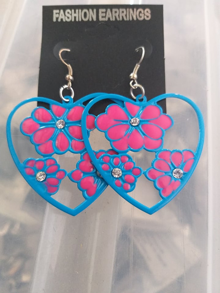 Blue & Pink Heart & Floral Earrings