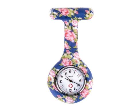 Blue Pink Peony Pattern Silicone Nurses Watch