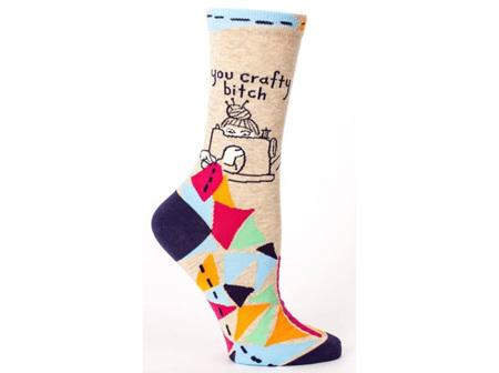 BLUE Q Socks You Crafty B?
