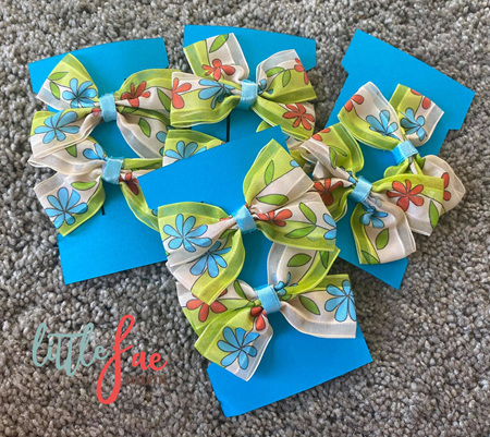 Blue & Red Flower Hair Bows