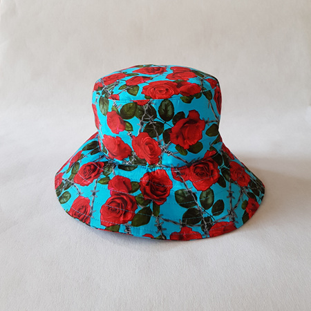 Blue Red Roses Bucket Hat - adult size large