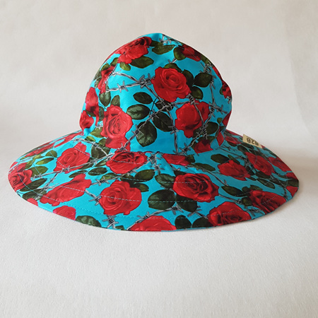 Blue Red Roses Sombrero Hat - Adult size large