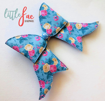 Blue Rose Cheer Bow Hair Clip