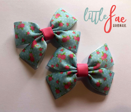 Blue rose hairbows