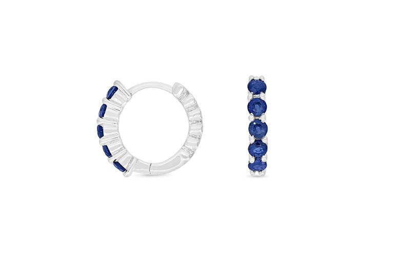 blue sapphire and diamond huggie earrings