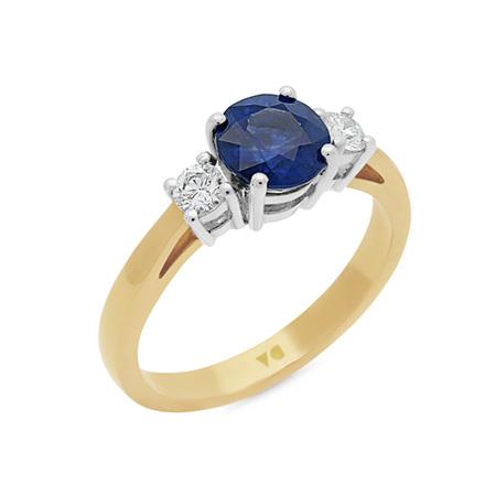 Blue Sapphire and Diamond Three Stone