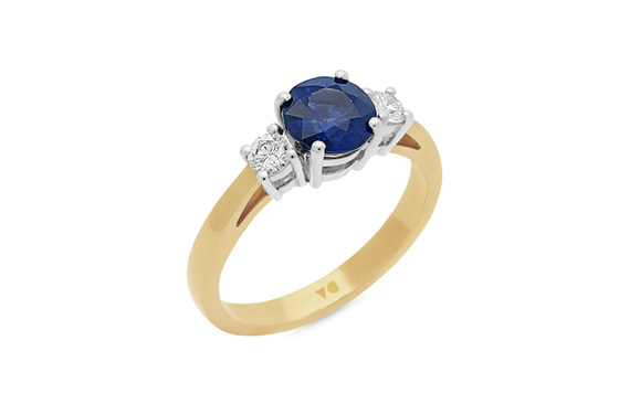 Blue Sapphire and Diamond Three Stone