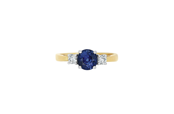 Blue sapphire and diamond three stone, engagement ring, dress ring,