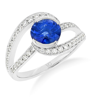 Sapphire and Diamond Twist Ring
