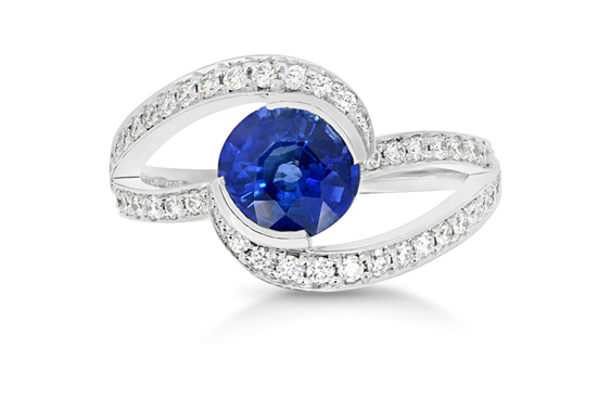 blue sapphire and diamond twist ring design