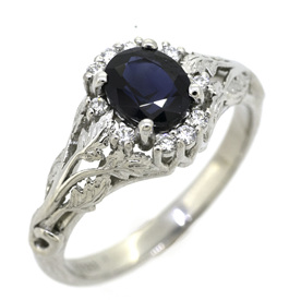 Blue Sapphire and Diamond Vintage Style Engagement Ring
