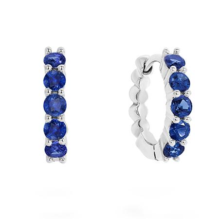 Blue Sapphire Set Gold Huggie Earrings