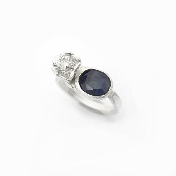 blue sapphire sterling silver flower floral ring gemstone garden bloom rosecut