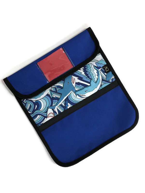 Blue shark book bag, durable and waterproof and NZ made
