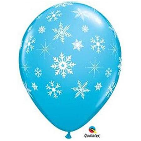 Blue snowflake & sparkle latex balloon