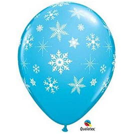 Blue snowflake & sparkle latex balloon