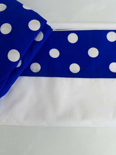 Blue Spotty Cot Sheet Set