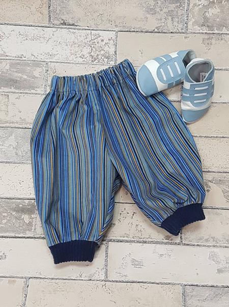 Blue Stripe Corduroy pants  0-3 months