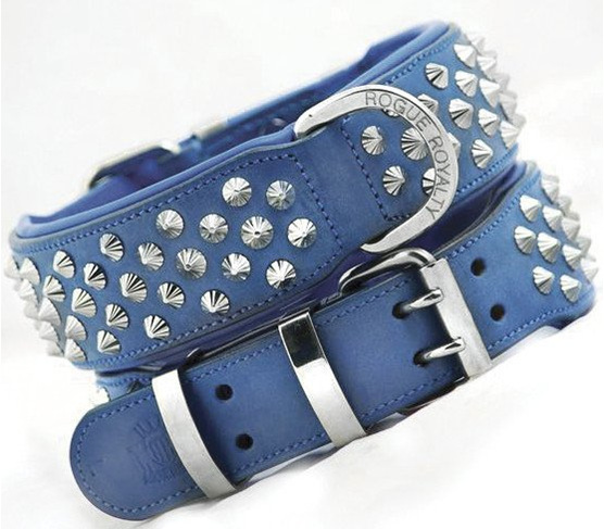 Blue Studded Leather Dog Collar for Large Dogs by Rogue Royalty