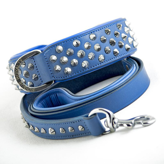 Blue Studded Leather Dog Leash for Large Dogs by Rogue Royalty