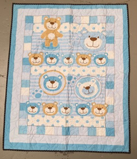 Blue Teddy Cot Quilt