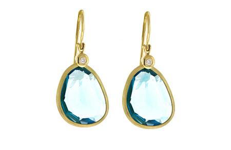 Blue Topaz and Diamond Gold Hook Earrings