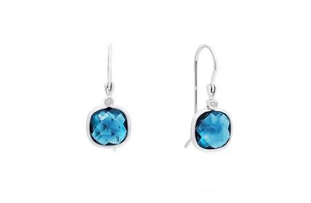 Blue Topaz and Diamond Hook Earrings