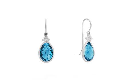 Blue Topaz and Flower Set Diamond White Gold Hook Earrings