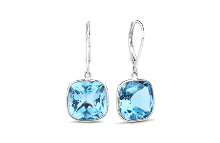 Blue Topaz and Gold Drop Earrings
