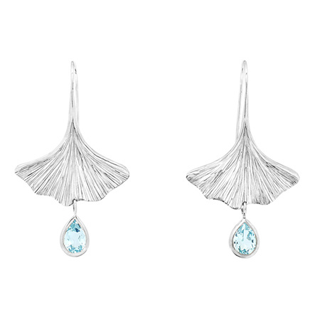 Blue Topaz Gingko Leaf Earrings